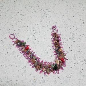 Handmade Beaded Bracelet Stones Pink Green Red